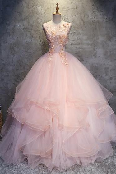 Pink tulle puffy O neck long prom gown with lace appliques