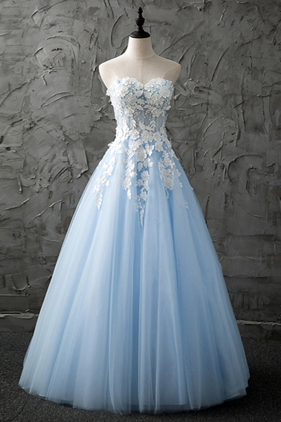 Sweetheart blue tulle long customize evening dress with appliques