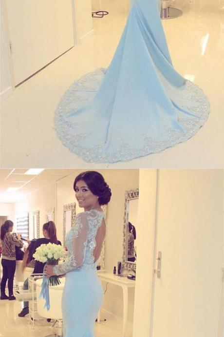 Light Blue Prom Dress, Sexy Full Sleeve Evening Dress, Mermaid Prom Dresses,Appliques Lace Long Dress