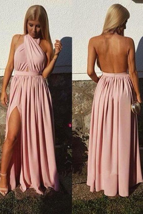Charming Prom Dress,Sexy Open Back Prom Dresses, Sexy Split Side Long Evening Party Dress P0054