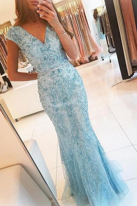 Sexy Beading Light Blue Mermaid Prom Dress, V Neckline Formal Evening Dresses, Long Prom Dresses P0017