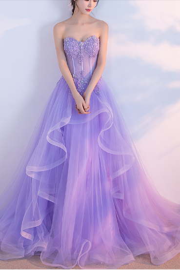 Elegant Prom Dress,Long Prom Dresses,Sweetheart Prom Dresses,Lilac Evening Dress, Tulle Prom Gowns,Formal Women Dress P0081