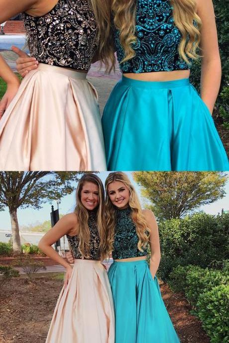 Gorgeous Prom Dresses,Two Piece Prom Dress,Beads Prom Dresses,Long Prom Dress,High Neck Prom Dresses P0085