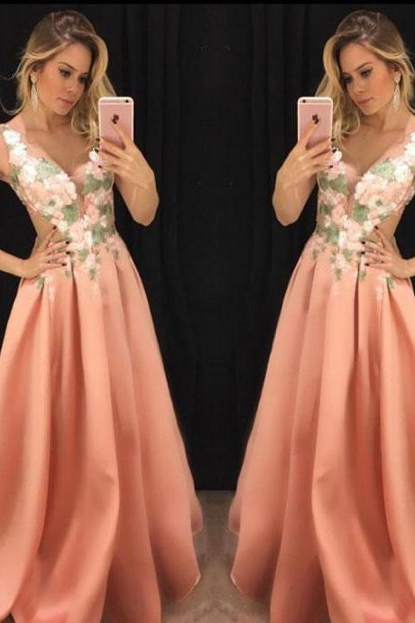 Elegant V Neck Evening Dress, Long Prom Dress with Appliques, Formal Gown P0307