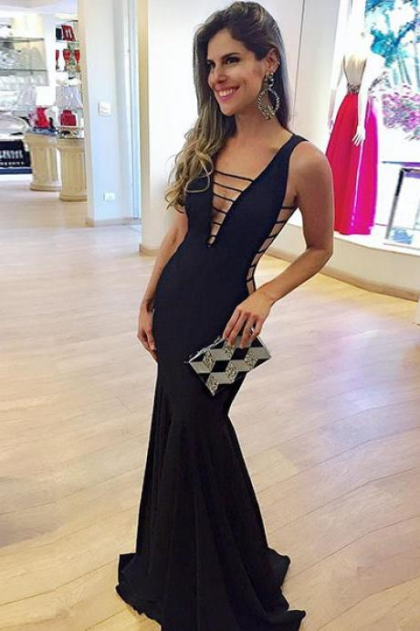Sexy Mermaid Low Cut V-Neck Sleeveless Black Floor-Length Prom Dress P0312