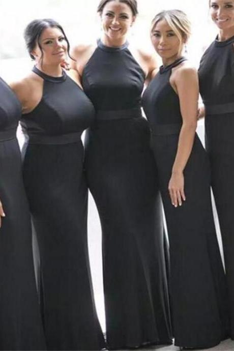 Custom Made Black Halter Neck Long Mermaid Bridesmaid Dress