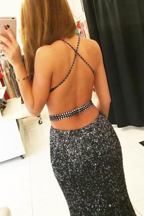 Gray Sequins Mermaid Prom Dresses Beaded Spaghetti Straps Evening Dresses Backless Formal Gowns Sexy Party Pageant Dresses P0494