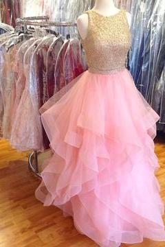 Gold Beaded Top Prom Dress, Ruffles Pink Organza Prom Dress, Two Pieces Long Prom Dress,Beaded Long Party Dress for Juniors P0497