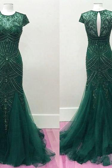 Beaded Mermaid Prom Dresses,Mermaid Pageant Evening Gowns,Fashion Prom Dress,Sexy Party Dress,Elegant Evening Dress P0498