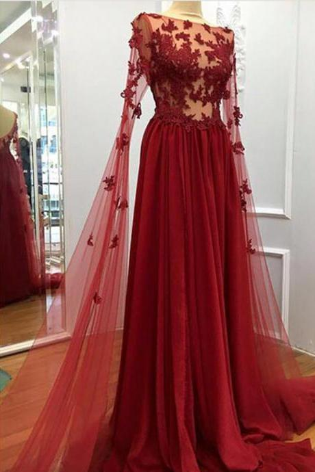 Charming Prom Dress, Sexy Appliques Prom Dress, Long Evening Dress, Formal Dress P0556