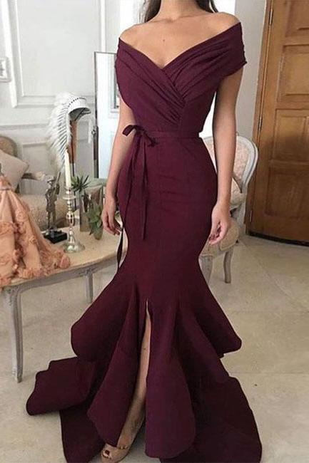 Simple off shoulder long prom dress, evening dress Prom Gowns, Formal Women Dress P0605