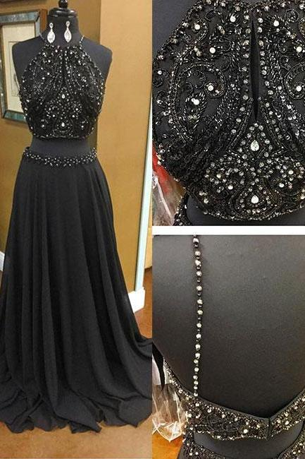 Black two pieces long prom dress, black evening dress P0612