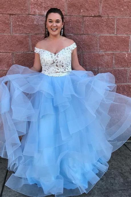 Off Shoulder White and Blue Long Prom Dress,Prom Dresses,Evening Dress, Prom Gowns, Formal Women Dress,prom dress P0665