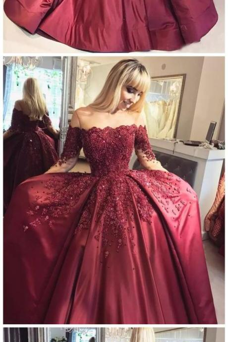 prom dresses long,prom dresses ball gown,prom dresses with sleeves,prom dresses burgundy,prom dresses lace,beautiful prom dresses,prom dresses 2018 P0717