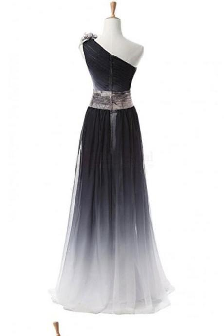 Custom Made Black One Shoulder Ombre Long Chiffon Bridesmaid Dress