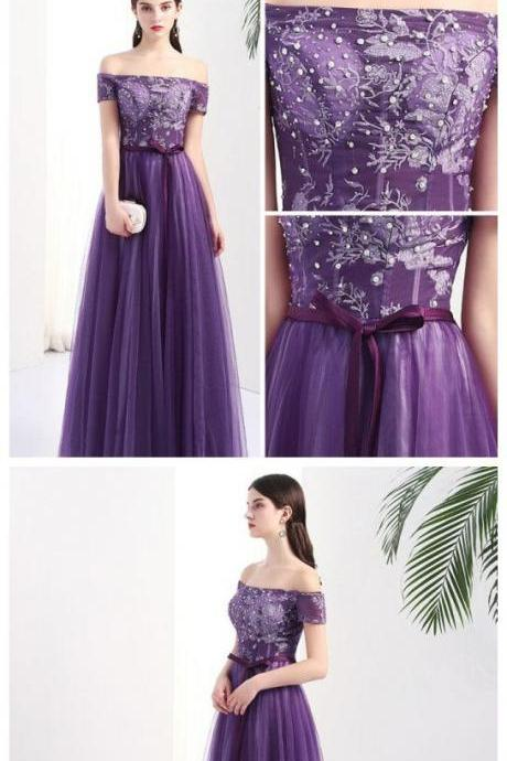 Off-the-shoulder Prom Dress Floor-length Appliques Tulle Prom Dress/Evening Dress P0773