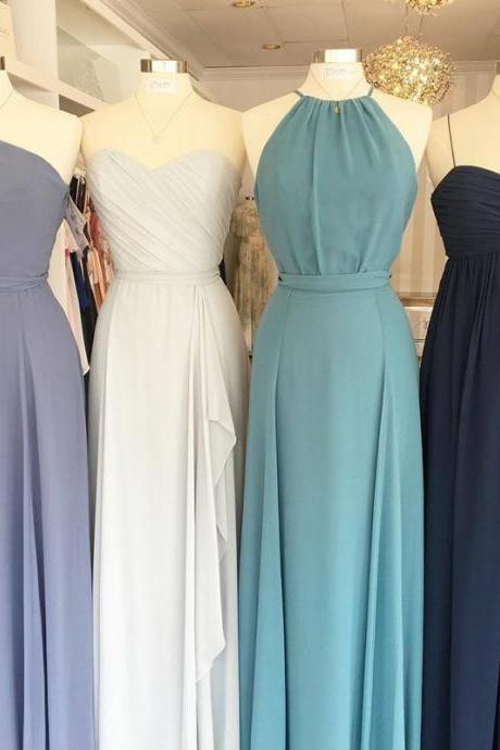 Custom Made Sleeveless Chiffon A-Line Floor Length Bridesmaid Dresses