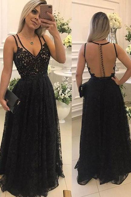Black lace see through long prom dress, black evening dress P0811