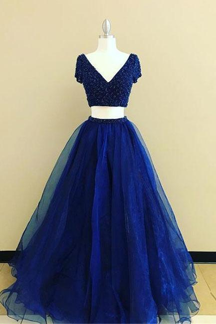 Simple Prom Dresses,New Prom Gown,Vintage Prom Gowns,royal Blue two pieces long prom dress, blue evening dress P0907