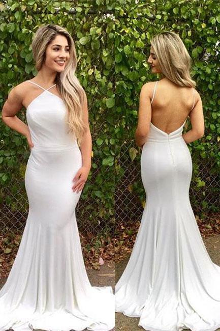 Simple Prom Dresses,New Prom Gown,Vintage Prom Gowns,White mermaid backless long prom dress, white evening dress P0908