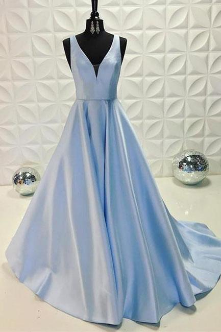 Simple Prom Dresses,New Prom Gown,Vintage Prom Gowns,Light blue v neck long prom dress, blue evening dress P0911