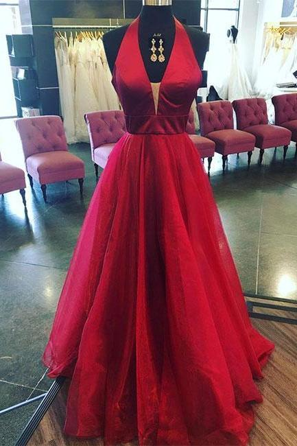 Simple Prom Dresses,New Prom Gown,Vintage Prom Gowns,Burgundy v neck long prom dress, burgundy evening dress P0914