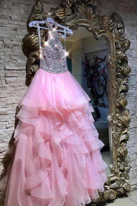 Sexy Sleeveless Prom Dress, Crystal Beaded Pink Ruffles Tulle Prom Dresses, Pretty Long Evening Dress P0924
