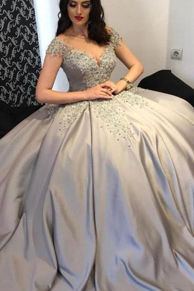 Elegant Ball Gown Off-The-Shoulder Cap Sleeves Long Prom/Evening Dress With Appliques P1003