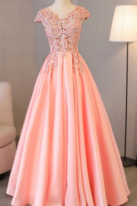 Charming Prom Dress, Cap Sleeve Pink Appliques Long Evening Party Dress P1009