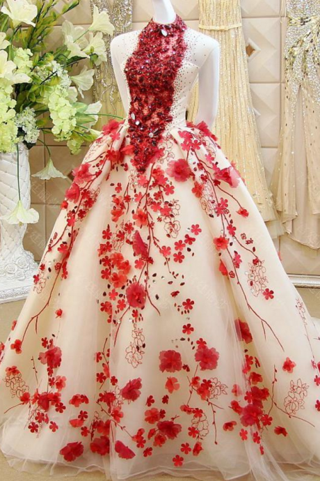 Charming Ball Gown Prom Dress, Sexy Crystal Tulle Prom Dresses with Handmade Flower, Long Evening Dress P1010