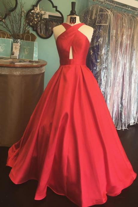 Charming Prom Dress, Sleeveless A Line Evening Dress, Red Long Prom Gown P1012