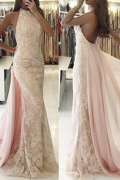 Charming Pink Prom Dress, Backless Lace Mermaid Prom Dresses, Long Evening Dress P1050