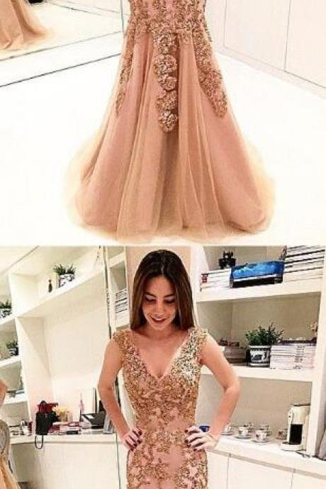 Sexy V Neck Prom Dress, Appliques Tulle Mermaid Prom Dresses, Formal Long Evening Dress P1054