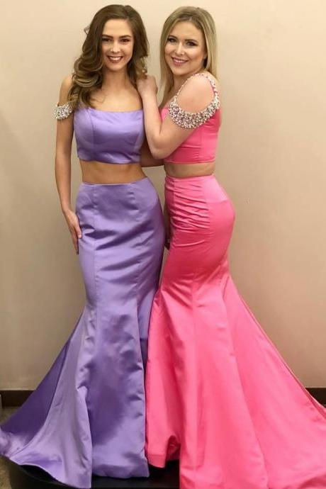 Sexy Two Piece Prom Dress, Long Evening Dress P1068