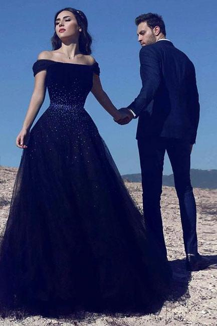 Navy blue tulle long prom dress, blue evening dress P1100