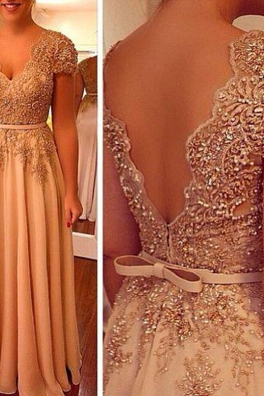Charming Prom Dress, A Line V Neck Evening Dress, Beaded Women Formal Dress P1126