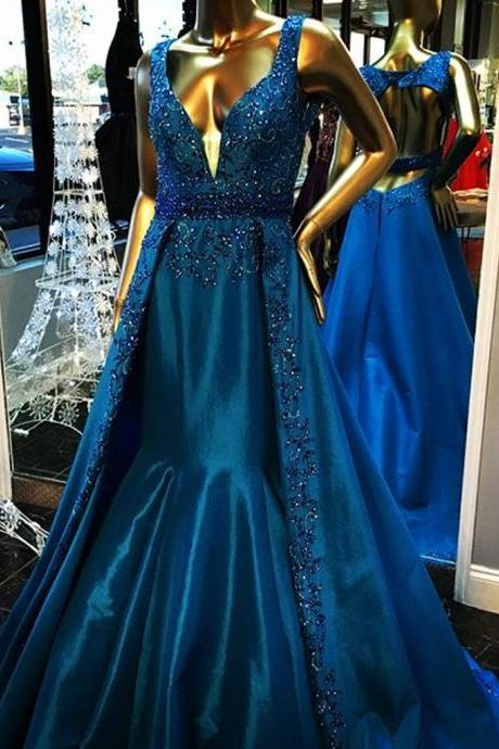 Sexy Sleeveless Prom Dress, Beaded A Line Prom Dresses, Formal Long Evening Dress P1161