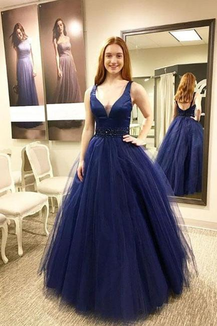 Charming Prom Dress, Sexy V Neck Sleeveless Prom Dresses, Elegant Long Homecoming Dress, Navy Evening Dress P1170