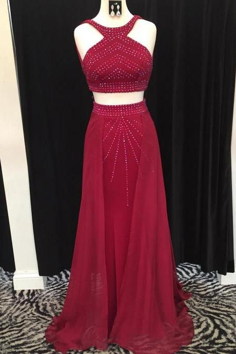 Charming Prom Dress, Sexy Two Piece Prom Dresses, Chiffon Evening Dress, Sleeveless Burgundy Prom Gown P1192