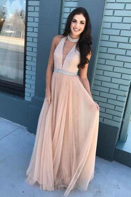 Gorgeous V Neck Champagne Long Prom Dress P1243