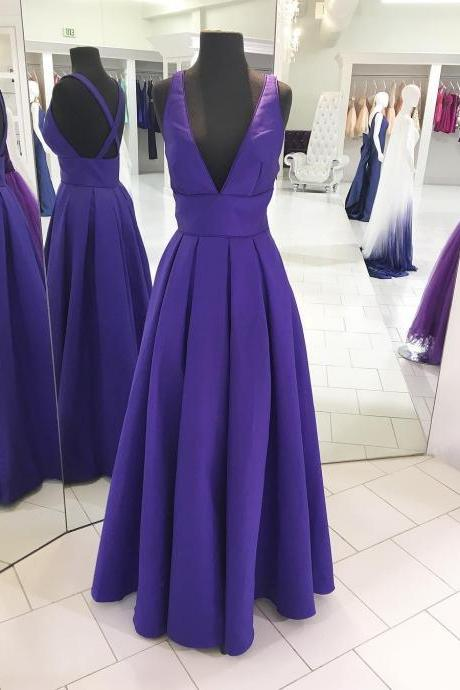 Elegant V Neck Long Prom Dress with Cross Back P1257