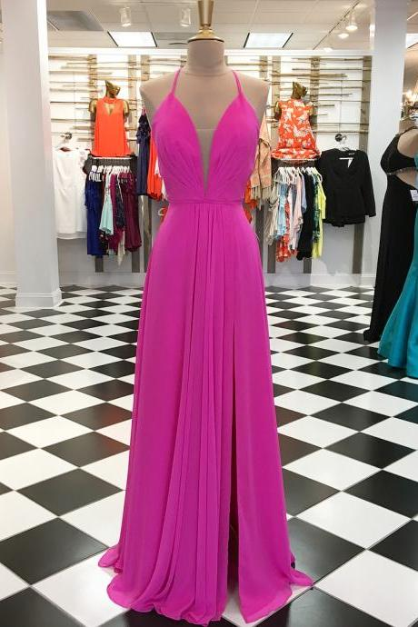 Hot Pink Long Prom Dress, Gorgeous 2018 Long Prom Dress P1259