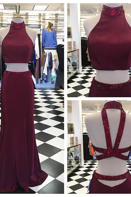 2018 Dark Burgundy Two Piece Prom Dress, Sexy Mermaid Prom Dresses, Long Evening Dress with Beads P1324