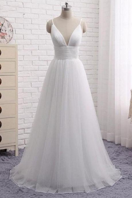 Simple White V-Neck Long Tulle Prom Dress,A-Line Spaghetti Straps White Evening Dress P1390