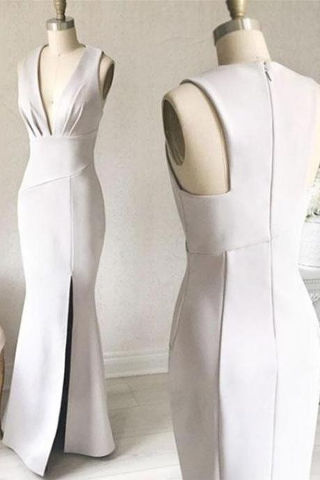 Simple White V-Neck Sheath Prom Dress,Long Formal Dress with Slit Side P1396