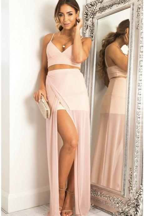 Simple Pink Two Piece Chiffon Party Dress,Spaghetti Strap V-Neck Party Dress with Slit P1403