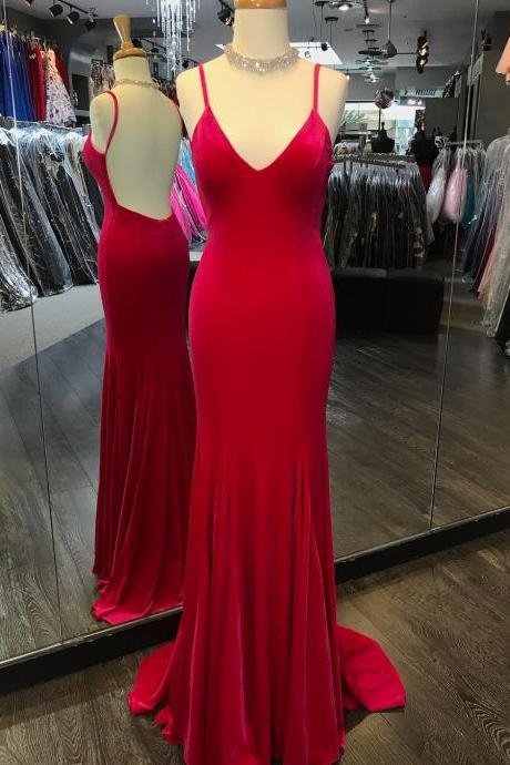 Red Mermaid Prom Dress, Sexy Backless Prom Dresses, Long Spaghetti Straps Evening Party Dress P1451