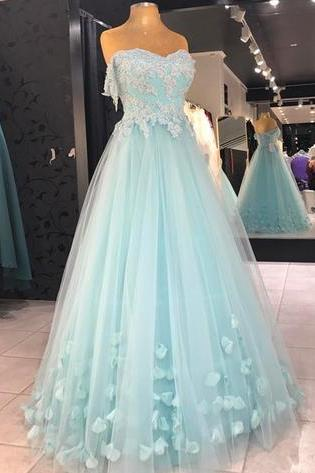 Baby Blue Appliques Prom Dress, Sexy Tulle Prom Dresses, Long Evening Dress P1469
