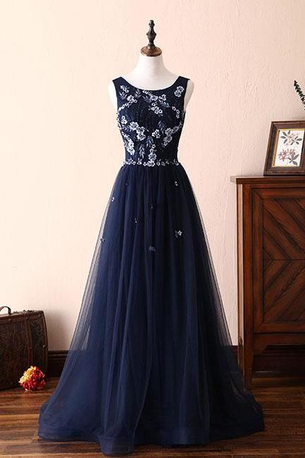 Dark blue lace tulle long prom dress, formal dress P1496