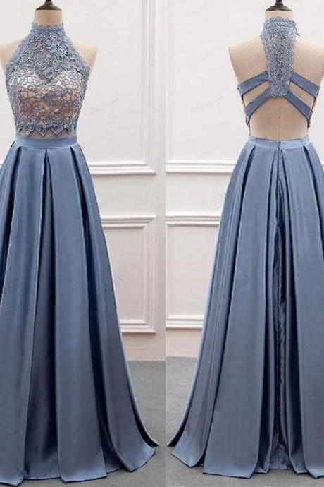 Sexy Two Piece Long Prom Dresses with Lace P1517